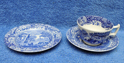 Spode Blue Italian Cup/Saucer/Plate Tea Trio Made In England