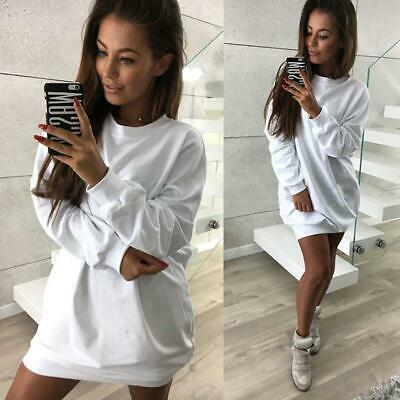 Women Long Sleeve Jumper Dress Sweatshirt Pullover Top LA
