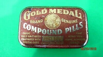 Vintage  Medicine Tin, Gold Metal Brand Compound Pills Collectible tin