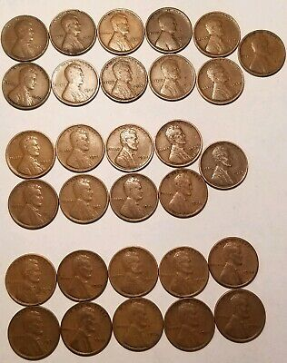 LINCOLN WHEAT CENT PENNY LOT TEENS//TWENTIES//THIRTIES 50 DIFFERENT DATE//MINTS