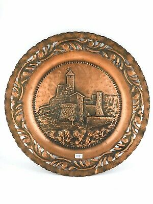 Decorative Plate Copper with Scene of a Castle Medieval Chiselled to Hand