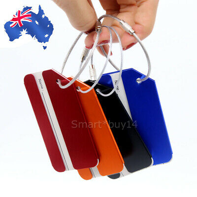 4X Aluminium Luggage Tags Suitcase Labels Name Address ID Bag Baggage Tag Travel