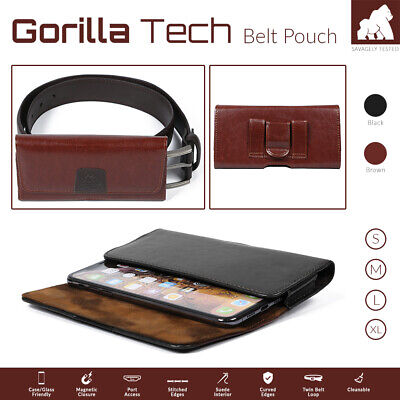 Mobile Phone Genuine Leather Holster Belt Pouch Case Strong Twin Magnetic Flip