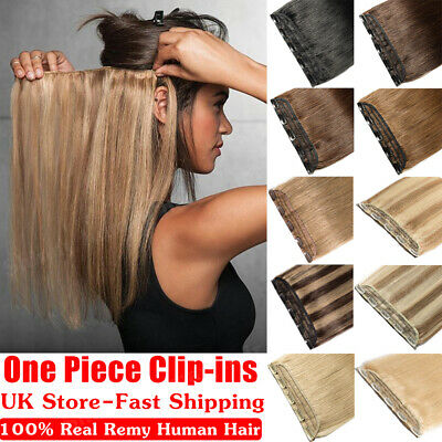 Hot One Piece 100% Real Hair Clip In Remy Human Hair Extensions Half Full Head W
