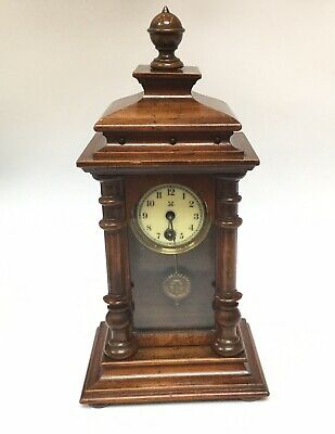 Antique Wooden Mantle Clock By HAC with Suns Face Pendulum WORKING perfectly