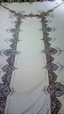 59x103 TABLECLOTH with Crochet Edges, Embroidered Off-White/Gray Grey Linen VTG