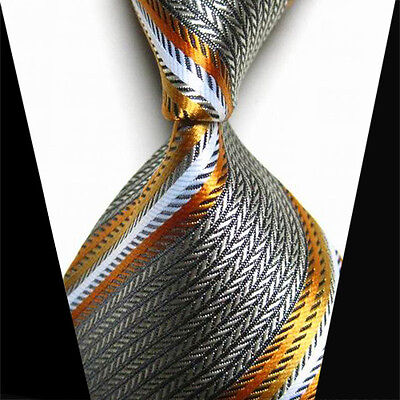 Men's Tie Stripe New Classic Business WOVEN Silk JACQUARD Necktie Silver Grey UK