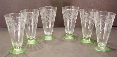 6 Depression Green Base Etched & Cut Floral Vertical Rib Cone Shape Glasses