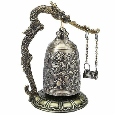 Vintage Bronze Lock Dragon Carved Buddhist Chime Bell Good Luck Meditation Decor