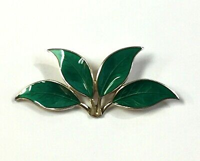 DAVID ANDERSEN Norwegian Sterling Silver Green Guilloche Enamel Leaf Brooch