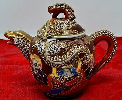 Antique Japanese Dragon Ware TEAPOT Satsuma Moriage Shimazu Immortals GoldLeaf