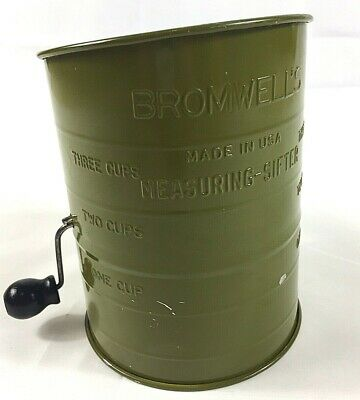 Bromwell's Bee Tin Flour Sifter Primitive Gorgeous Green Vintage Early Deco USA