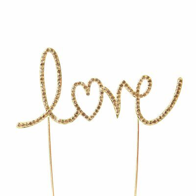 """2.5"""" tall Gold Love Crystal Rhinestones Metallic Cake Topper Party Decorations"""