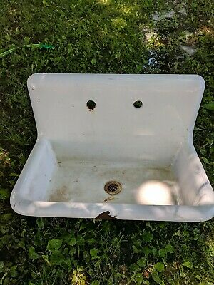 Vintage Cast Iron Sink porcelain 1909 high back farm house American Standard