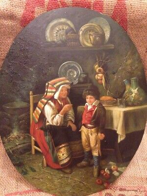Large Vintage Signed Oil on Wood Board Panel Painting European Henry A Oval
