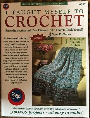 Boye I Taught Myself to Crochet Instruction Booklet 6397 Right Left Hand Pattern