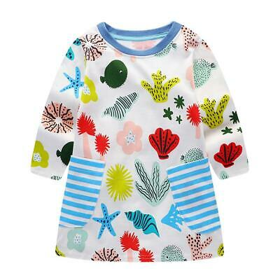 Casual Cute Sea Animals Print Knitted Long Sleeve Dress Kids Girls Clothing #gib