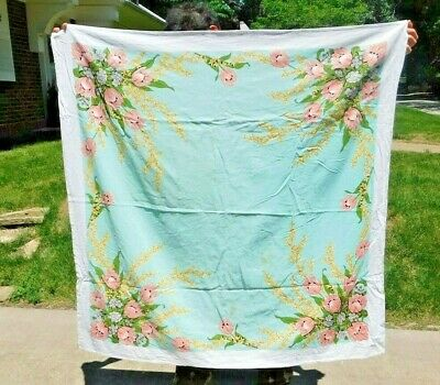 VINTAGE 1950's SKY BLUE W PINK FLOWERS COTTON TABLECLOTH