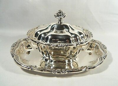 RARE Antique 1881 ROGERS Silver Plate Lidded SAUCE DISH Gravy Boat &  UNDERPLATE