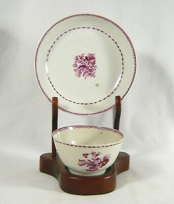 Antique CHINESE 18th Century Export China TEA BOWL & SAUCER Puce Floral Famille