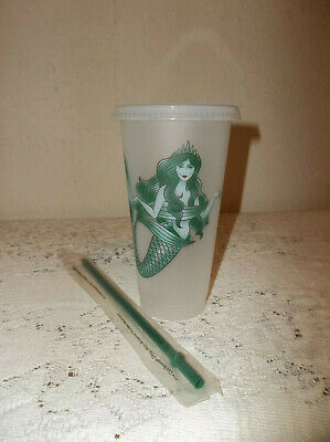 Starbucks Siren Mermaid Reusable Frosted Plastic Cold Cup Tumbler 24 Oz. New