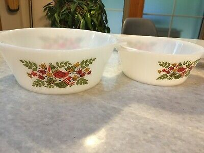 Vintage, Nesting Mid-Century, France, Arcopal Milk Glass Bowl/Dishes Partrides