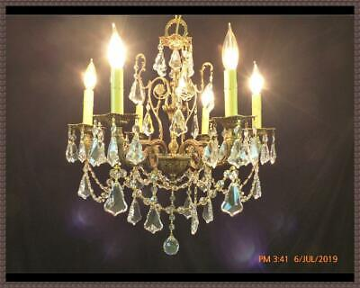 Vintage Antique Ornate Brass Bronze Chandelier Superb Crystals Stunning Fixture!