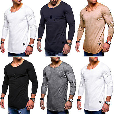 Mens Slim Fit O Neck Long Sleeve Muscle Tee T-shirts Casual Gym Tops Pullover