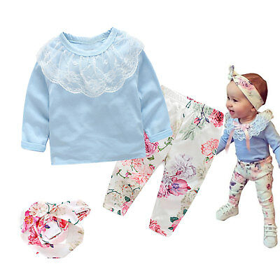 3 Set Newborn Baby Girls Floral Outfits Clothes Lace T-shirt Tops Pants Headband