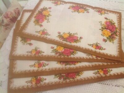 Royal  Albert  Old Country Roses Vintage Irish Linen Placemats x 4