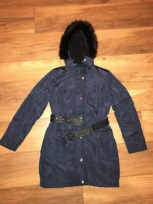 Girls Age 12 River Island Navy Faux Fur Jacket Coat Parka