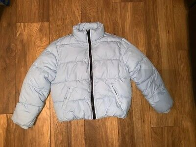 Girls Age 7-8 River Island Baby Blue Quilted Jacket Coat Parka Puffa Puffer