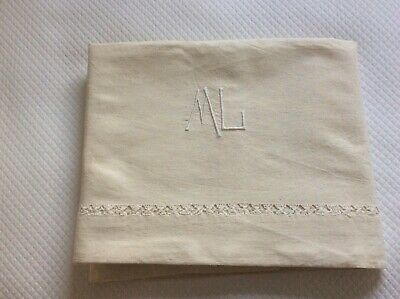 Exquisite Vintage French Pure Linen  Sheet, Hand Embroidered & Monogrammed.