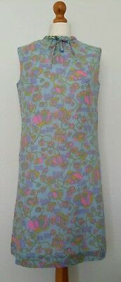 True Vintage 1960s St Michael M & S Blue Floral GoGo Mod Shift Dress Size 14