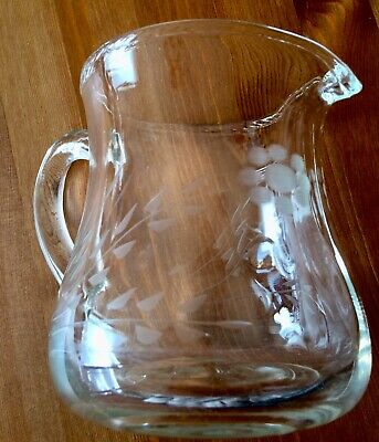 Vintage Antique Crystal Water Jug Hand Made Hand Engraved