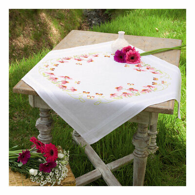 Embroidery Kit Tablecloth Echinacea and Butterfly Stitched on Cotton   80x80cm