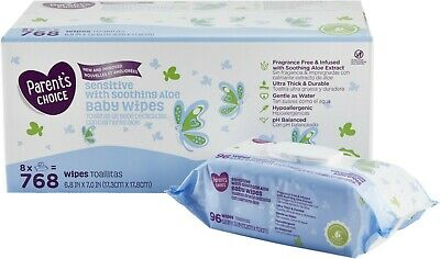 Parent's Choice Sensitive Baby Wipes, 8 packs of 96 (768 count) NEW