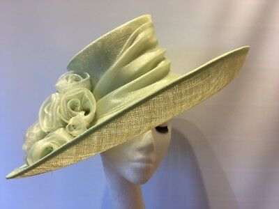 Gorgeous & Glorious Millinery Pale Green Sinamay Hat - never worn