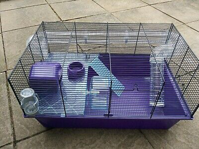 HAMSTER CAGE FROM Pets at Home, with Accessories, Purple Tray, Used