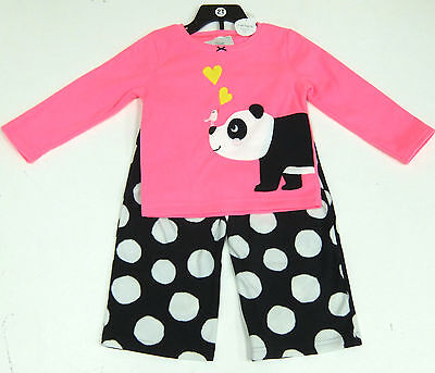 Carter's Girls 2 Pce Panda Pyjamas Set, Pink Top, Black Fleecy Bottoms 6 Years