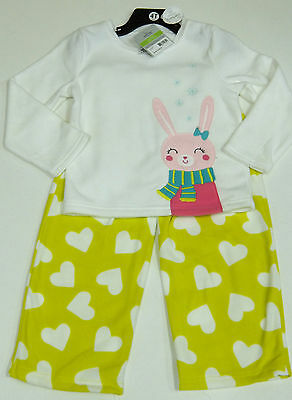 Carter's Girls 2 Pce Bunny Pyjamas Set White Top, Yellow Fleecy Bottoms 5 Years