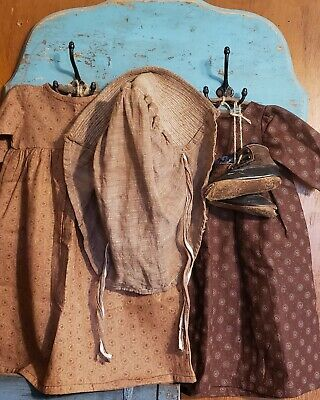♡Best Primitive Early Handmade Brown Calico Dresses~ Textiles, Bonnet And Shoes♡