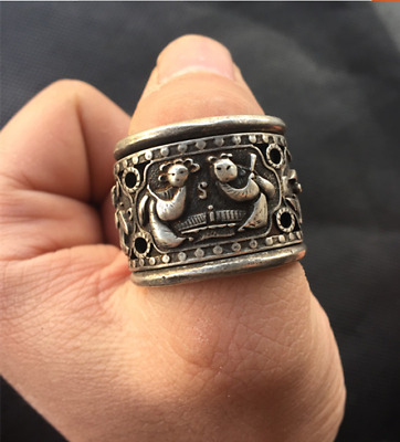 Old China Tibetan silver  Ancient characters Revolving finger Ring