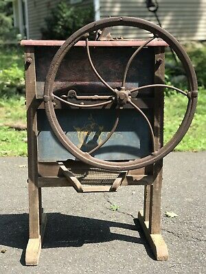 Antique Corn Sheller Grinder Primitive Cast Iron Wood Tool Du Bois Bros Farm NY