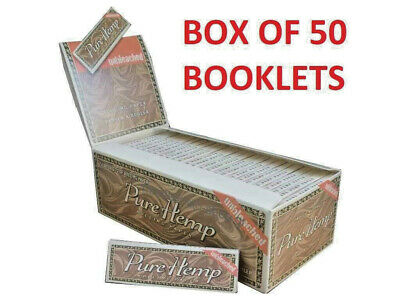 BOX 50 booklets PURE HEMP unbleached Single Wide Rolling Papers 100% Pure Hemp