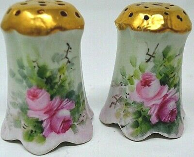 Victorian Antique Hand Painted Salt & Pepper Shakers  Lovely Roses, Gold