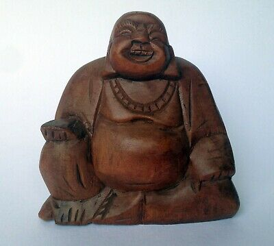 Small Buddha Ornament Laughing Chinese Wooden Fat Happy Gifts Carved Statue Home