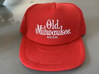 0a24e48be OLD MILWAUKEE BEER Red Corduroy Vintage Hat Fish Cap Trucker ...