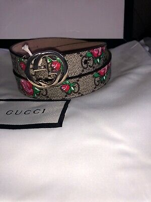🎁Girls Gucci Authentic Brown With Roses 🌹 Belt Gucci Size L Age 6-8 Years