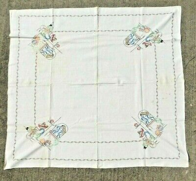 VINTAGE 1940's HAND EMBROIDERED MEXICAN THEME TABLECLOTH 43 by 46 INCHES